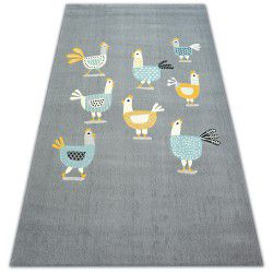 Carpet PASTEL 18413/072 - Chickens roosters grey turquoise