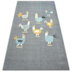 Teppich PASTEL 18413/072 - Hühner Hähnen grau türkis