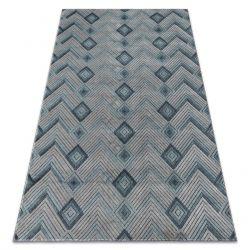 Teppich SIERRA G5015 Fischgrätenmuster flach gewebt blau