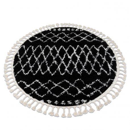 Koberec BERBER ETHNIC G3802 kruh černý / bílá Třepení berber maročtí shaggy