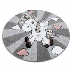 Kinderteppich PETIT EINHORN Kreis grau