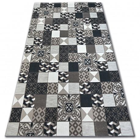 Килим ЛІСАБОН 27218/985 квадрати плитки коричневий Лісабонський стиль