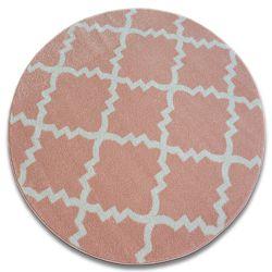 Dywan SKETCH koło - F343 różowo/kremowa koniczyna marokańska trellis