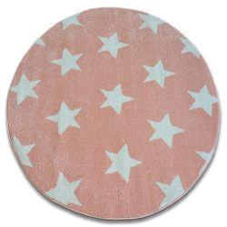 Alfombra SKETCH círculo - FA68 rosa/crema - Estrellitas Estrellas