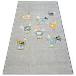 Pastel szőnyeg 18413/052 - Csirkék Jérce Kakasok szürke türkiz