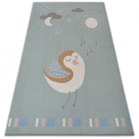 Carpet for kids LOKO Bird green anti-slip