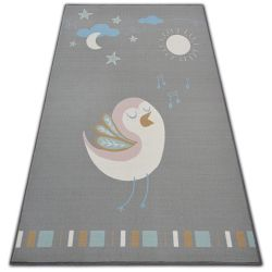 Carpet for kids LOKO Bird grey anti-slip
