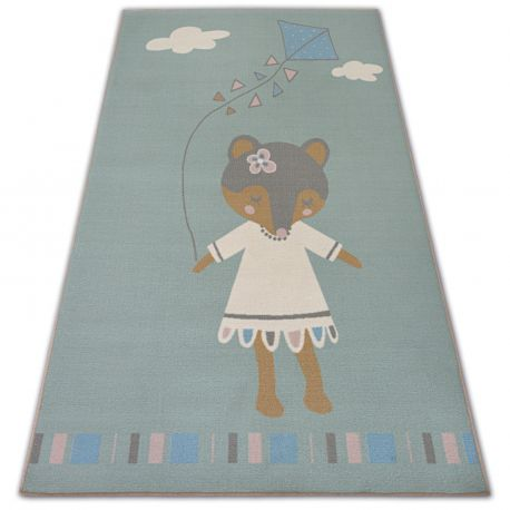 Carpet for kids LOKO Mouse green anti-slip