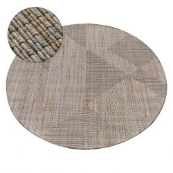 Alfombra de cuerda sisal NATURE SL110 círculo Franjas Boho beige