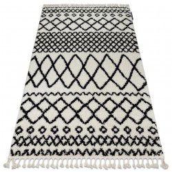 Koberec BERBER SAFI N9040, bílo-černý - střapce, Maroko Shaggy