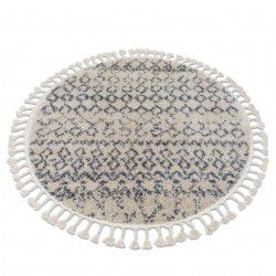 Tappeto BERBER AGADIR G0522 cerchio crema / griggio Frange berbero marocchino shaggy