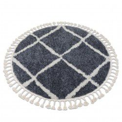 Carpet BERBER CROSS B5950 circle grey / white Fringe Berber Moroccan shaggy