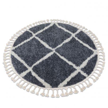Tappeto BERBER CROSS B5950 cerchio griggio / bianco Frange berbero marocchino shaggy