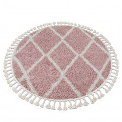 Carpet BERBER TROIK A0010 circle pink / white Fringe Berber Moroccan shaggy