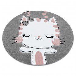 Ковер PETIT KITTY круг серый