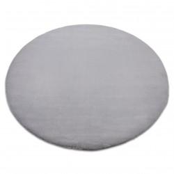 Килим BUNNY кръг сребро имитация на заешка кожа