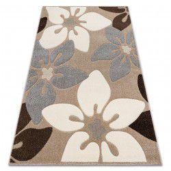 Килим FEEL 1602/15055 квіти бежевий / сірий