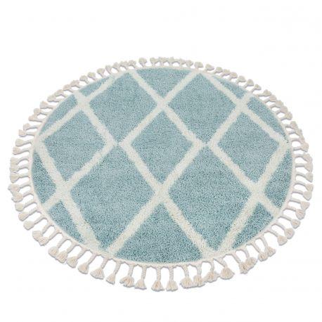 Tappeto BERBER TROIK A0010 cerchio blu / bianco Frange berbero marocchino shaggy