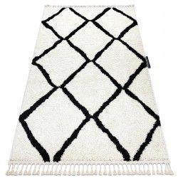 Covor Berber Cross alb Franjuri shaggy pletos