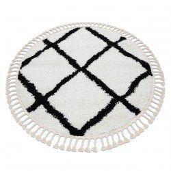 Carpet BERBER CROSS circle white Fringe Berber Moroccan shaggy