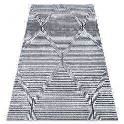 Dywan Strukturalny SIERRA G5018 Płasko tkany, dwa poziomy runa szary - paski, romby