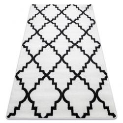 Tappeto SKETCH - F343 bianco/nero marocco trifoglio trellis