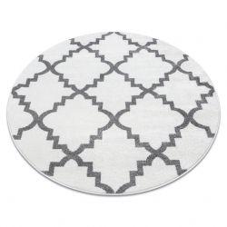 Tapis SKETCH cercle - F343 blanc et gris trèfle marocain trellis