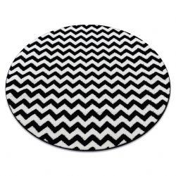 Килим SKETCH кръг – F561 черно/бяло – зигзаг