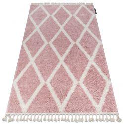 Tappeto BERBER TROIK A0010 rosa / bianco Frange berbero marocchino shaggy