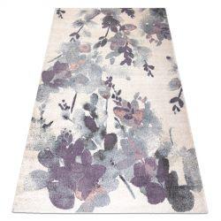 Koberec KAKE 25815067 Květiny, Listy slonová kost / fialový / šedá