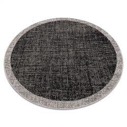 Tapete SIZAL FLOORLUX Circulo 20401 Quadro preto / prata