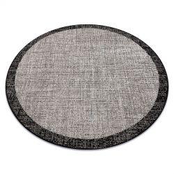 Ковер шнуровой SIZAL FLOORLUX круг 20401 Рамка серебро / черный