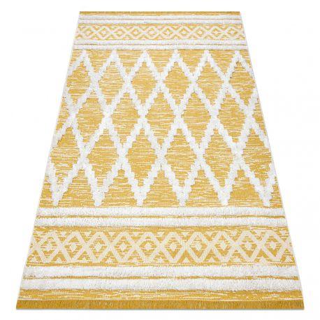 Dywan MOROC Romby 22297 Ekologiczny, EKO SIZAL frędzle - dwa poziomy runa żółty / krem, dywan z bawełny recyklingowanej