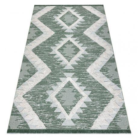 Tapis ECO SIZAL BOHO MOROC Quadri 22312 frange - due livelli di pile verde / crema, tappeto in cotone riciclato