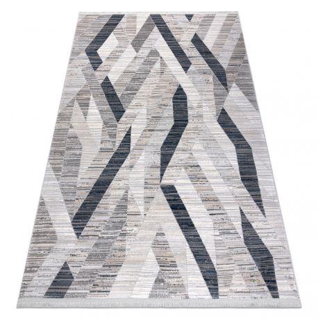 Modern Teppich REBEC Franse 51166B Geometrisch - zwei Ebenen aus Vlies dunkelblau / creme