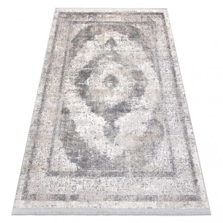 Klassisch Teppich REBEC Franse 51171A Ornament vintage - zwei Ebenen aus Vlies creme / grau