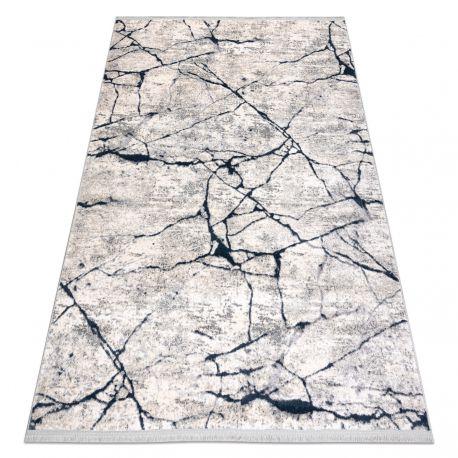 Moderní koberec REBEC třepení 51184A Mramor - dvě úrovně rouna krém / modrá