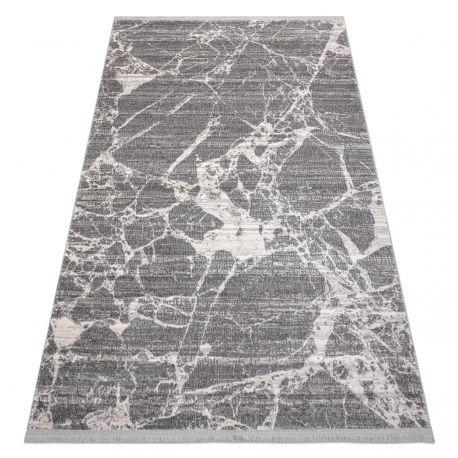 Modern Teppich REBEC Franse 51186B Marmor - zwei Ebenen aus Vlies creme / grau