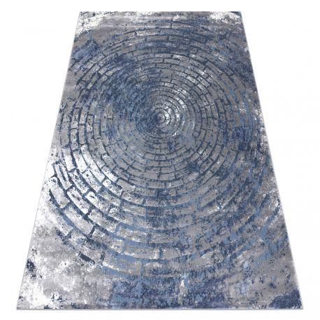 Tapete moderno OPERA 0W9790 C92 54 circulos, tijolo, vintage - Structural dois níveis cinzento / azul