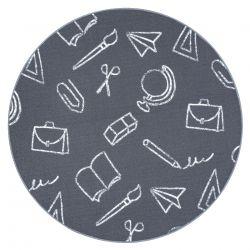 Koberec pro děti SCHOOL kruh škola šedá