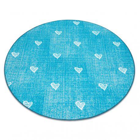 Koberec pro děti HEARTS Kruh Jeans, vintage srdce - tyrkysový