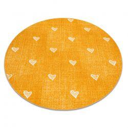 Dywan dla dzieci HEARTS koło Jeans przecierany, serca, serduszka, dziecięcy - pomarańcz
