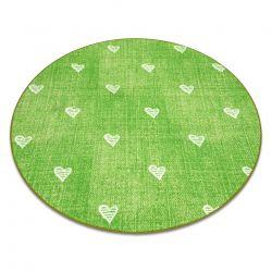 Килим для дітей HEARTS коло джинси, vintage серця - зелений