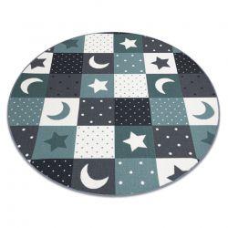 Koberec pro děti STARS Kruh hvězdy tyrkysový / šedá