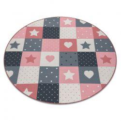 Koberec pro děti STARS Kruh hvězdy růžový / šedá