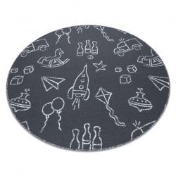 Carpet for kids TOYS circle to play, children's - grey