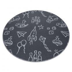 Koberec pro děti TOYS kruh Hračky, zábava - šedá