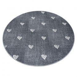 Koberec pro děti HEARTS Kruh Jeans, vintage srdce - šedá