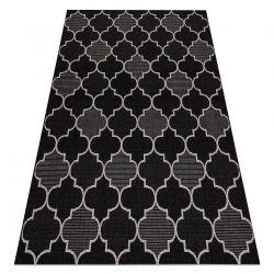 Килим SIZAL FLOORLUX 20607 Марокански решетка черно / сребро