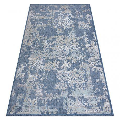 Carpet SAMPLE SOLAR D3811 Ornament - ivory / blue